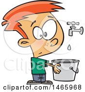 Clipart Of A Cartoon White Boy Holding A Pail Under A Faucet Drop In The Bucket Royalty Free Vector Illustration