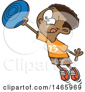 Clipart Of A Cartoon Black Boy Catching A Frisbee Royalty Free Vector Illustration
