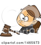 Clipart Of A Cartoon White Boy Judge Sitting With A Gavel Royalty Free Vector Illustration