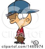 Poster, Art Print Of Cartoon White Baseball Player Boy Looking At A Ball