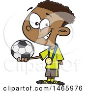 Clipart Of A Cartoon Black Boy Soccer Champion Holding A Ball Royalty Free Vector Illustration