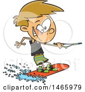 Clipart Of A Cartoon White Boy Wakeboarding Royalty Free Vector Illustration