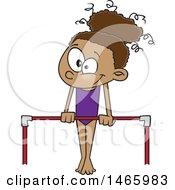 Clipart Of A Cartoon Black Gymnast Girl On A Horizontal Bar Royalty Free Vector Illustration