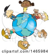 Clipart Of A Cartoon Circle Of Children On A Small World Royalty Free Vector Illustration