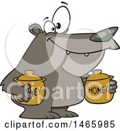 Cartoon Bear Carrying Honey Jars