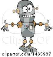 Clipart Of A Cartoon Welcoming Robot Royalty Free Vector Illustration by toonaday