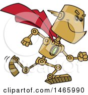 Clipart Of A Cartoon Super Hero Robot Royalty Free Vector Illustration