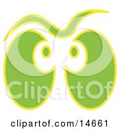 Pair Of Green And Yellow Ghost Eyes Glowing Clipart Illustration