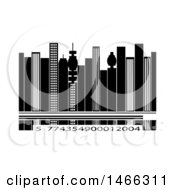 Clipart Of A City Skyline With A Row Of Numbers Royalty Free Vector Illustration by elaineitalia