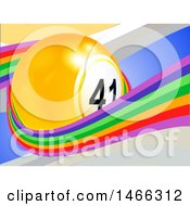 3d Lottery Or Bingo Ball In A Rainbow Wave