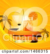 Clipart Of A Tropical Sunset With Cocktails And A Banner Royalty Free Vector Illustration by elaineitalia