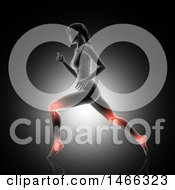 Clipart Of A 3d Medical Anatomical Female With Glowing Joints Used While Running On Gray Royalty Free Illustration
