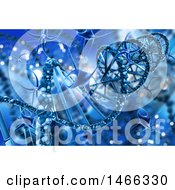 Clipart Of A Background Of A 3d Dna Strand With Viruses Royalty Free Illustration