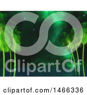 Clipart Of A 3d Ocean With Palm Trees And Nebula Sky Royalty Free Illustration