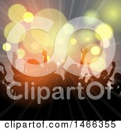 Clipart Of A Silhouetted Crowd With Flares And Lights Royalty Free Vector Illustration
