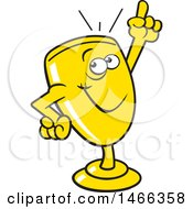 Clipart Of A Trophy Cup Character Holding Up A Finger Royalty Free Vector Illustration