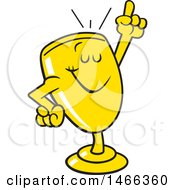 Clipart Of A Trophy Cup Mascot Holding Up A Finger Royalty Free Vector Illustration by Johnny Sajem