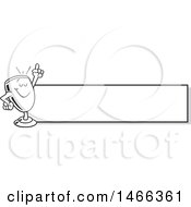Clipart Of A Black And White Trophy Cup Mascot Holding Up A Finger By A Blank Banner Royalty Free Vector Illustration