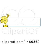 Clipart Of A Trophy Cup Character Holding Up A Finger By A Blank Banner Royalty Free Vector Illustration