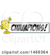 Clipart Of A Trophy Cup Character Holding Up A Finger By A Champions Banner Royalty Free Vector Illustration