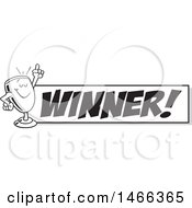 Clipart Of A Black And White Trophy Cup Mascot Holding Up A Finger By A Winner Banner Royalty Free Vector Illustration