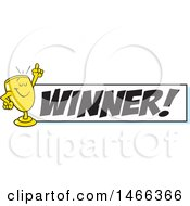 Clipart Of A Trophy Cup Character Holding Up A Finger By A Winner Banner Royalty Free Vector Illustration