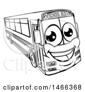 Clipart Of A Black And White Happy School Bus Royalty Free Vector Illustration by AtStockIllustration