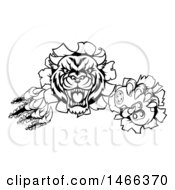 Clipart Of A Black And White Tiger Mascot Shredding Through A Wall And Holding A Video Game Controller Royalty Free Vector Illustration by AtStockIllustration