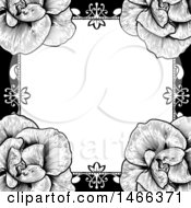 Clipart Of A Black And White Border Or Wedding Invitation With Roses Royalty Free Vector Illustration by AtStockIllustration
