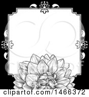 Clipart Of A Black And White Border Or Wedding Invitation With A Flower Royalty Free Vector Illustration by AtStockIllustration