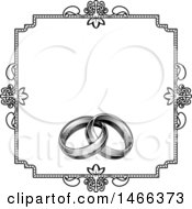 Clipart Of A Black And White Invitation With A Frame And Engraved Wedding Rings Royalty Free Vector Illustration by AtStockIllustration
