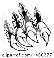Clipart Of Black And White Sharp Claws Shredding Through Metal Royalty Free Vector Illustration by AtStockIllustration