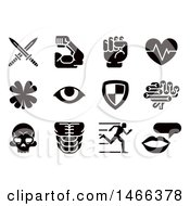 Clipart Of Black And White Video Game Attribute Icons Royalty Free Vector Illustration