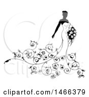 Silhouetted Black And White Bride With Swirls