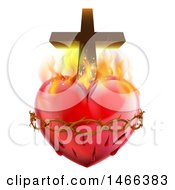 Clipart Of A 3d Sacred Heart With Fire Thorns And A Cross Royalty Free Vector Illustration
