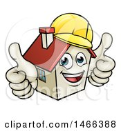 Cartoon Happy White Home Mascot Character Wearing A Hardhat And Giving Two Thumbs Up