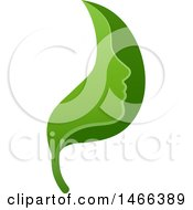 Clipart Of A Green Leaf Face Royalty Free Vector Illustration by AtStockIllustration
