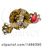 Clipart Of A Tough Clawed Male Lion Monster Mascot Holding A Cricket Ball Royalty Free Vector Illustration