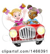 Clipart Of A Happy Black Girl Driving A Red Convertible Car With A White Girl In The Passenger Seat Royalty Free Vector Illustration by AtStockIllustration