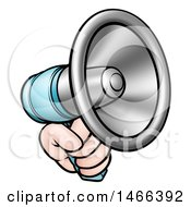 Clipart Of A Cartoon Hand Holding A Megaphone Royalty Free Vector Illustration by AtStockIllustration