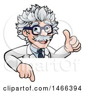Clipart Of A Cartoon Senior Male Scientist Giving A Thumb Up Over A Sign Royalty Free Vector Illustration