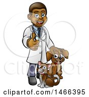 Cartoon Happy Black Male Veterinarian Giving A Thumb Up And Standing With A Dog And Cat