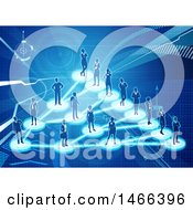 Clipart Of A Network Of Silhouetted People Connected On A Blue Background Royalty Free Vector Illustration