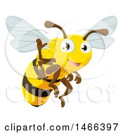 Clipart Of A Happy Bee Flying And Waving Royalty Free Vector Illustration