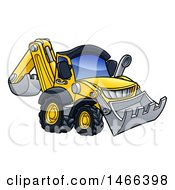 Clipart Of A Digger Bulldozer Machine Royalty Free Vector Illustration by AtStockIllustration