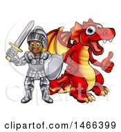 Poster, Art Print Of Black Boy Knight By A Red Dragon