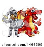Black Boy Knight By A Red Dragon