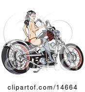 Sexy Topless Brunette Woman In A Red Thong Stockings And Heels Looking Back Over Her Shoulder And Holding A Wrench While Sitting On A Motorcycle Clipart Illustration by Andy Nortnik