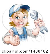 Cartoon Happy White Female Mechanic Holding Up A Wrench And Thumb