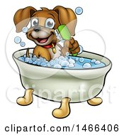 Clipart Of A Cartoon Happy Puppy Dog Holding A Brush And Soaking In A Bubble Bath Royalty Free Vector Illustration